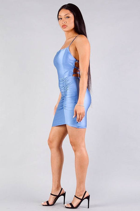 Spaghetti Strap Lace Up Back Ruched Mini Dress