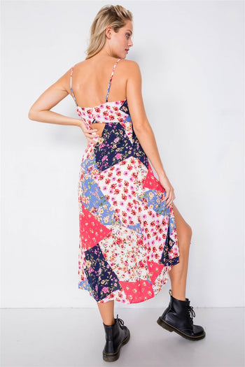 Multi Floral Center Slit Midi Dress