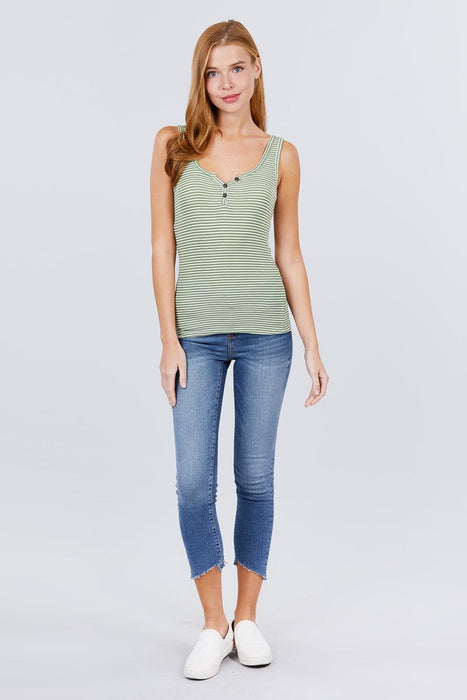 Green Henley Stripe Top