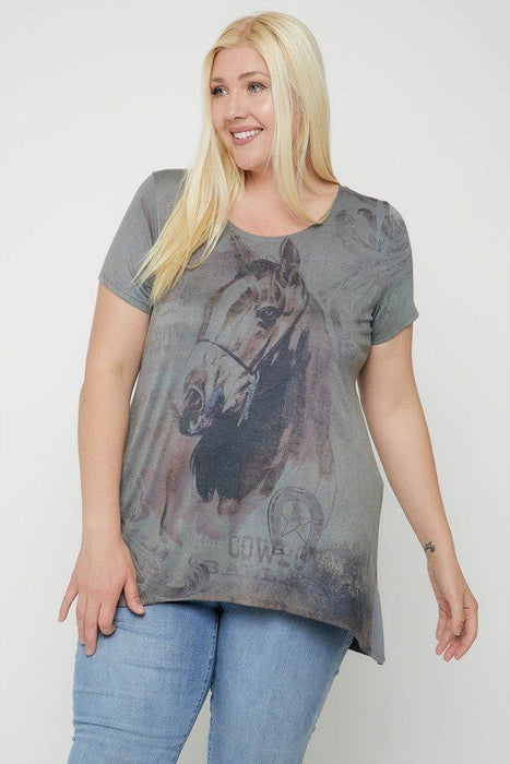 Horse Sublimation Print Short Sleeve Top