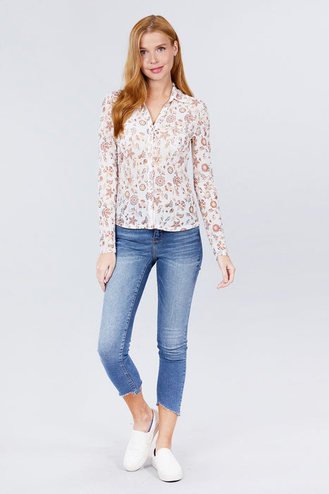 Long Sleeve V-neck W/button Down Print Mesh Knit Shirts