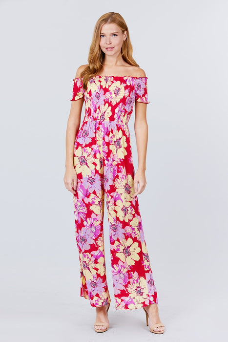 Short Sleeve Off The Shoulder Smocked Detail With Floral Print Long Wide Leg Jumpsuit.