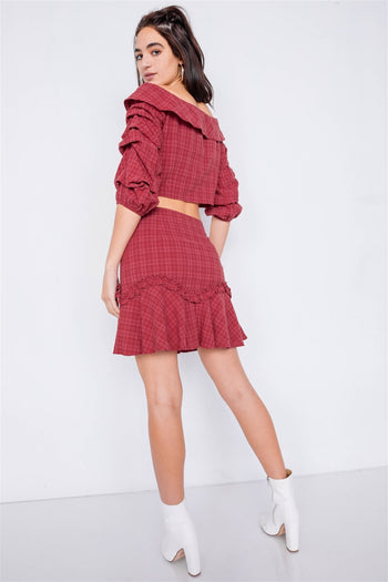 Raspberry Plaid Off-the Shoulder Crop Top & Mini Skirt Set