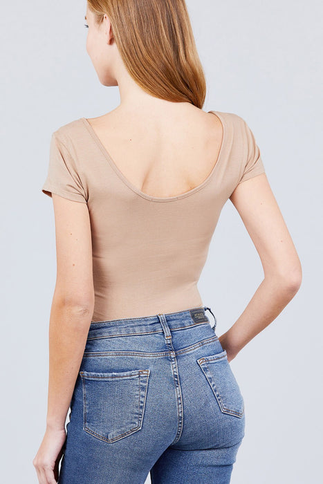 Solid Short Sleeve Scoop Neck Bodysuit