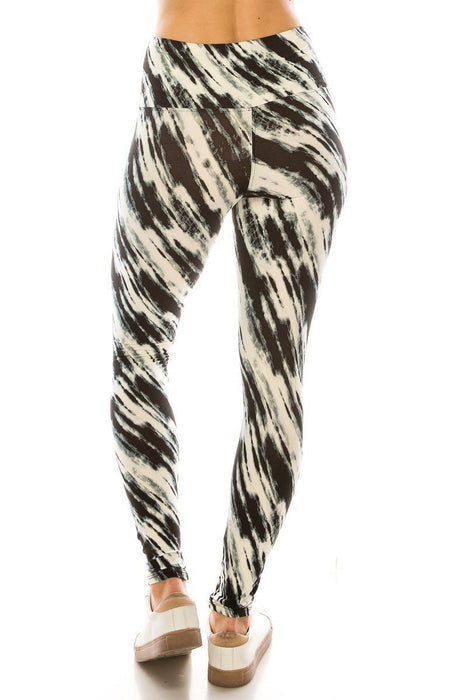 Black Lined Multi Printed Knit High Waist Legging