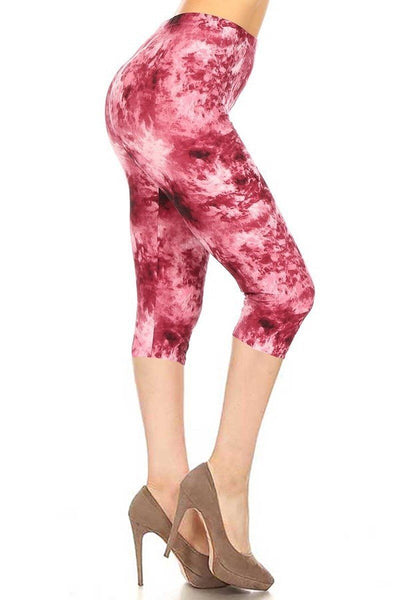 Tie Dye Print Fitted Capri Leggings