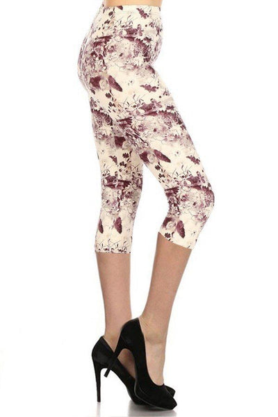Burgundy Print Capri Leggings