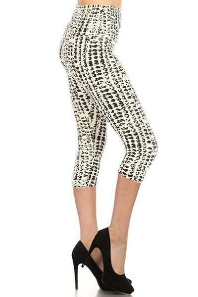 White Printed Capri Leggings