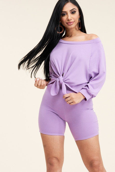 Tie Front Off The Shoulder Slouchy Top And Shorts Set