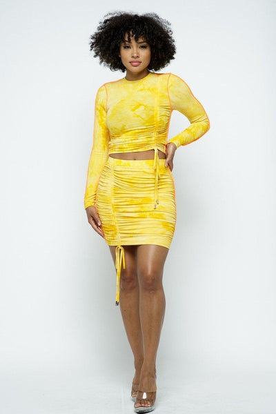 Mustard Tie Dyed Mini Skirt Set