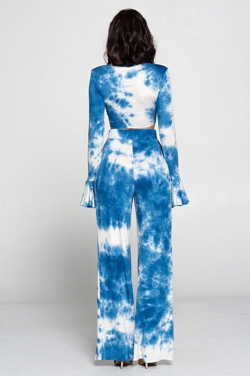 Tie Dye Front-Tie Top And Wide Leg Pants Set