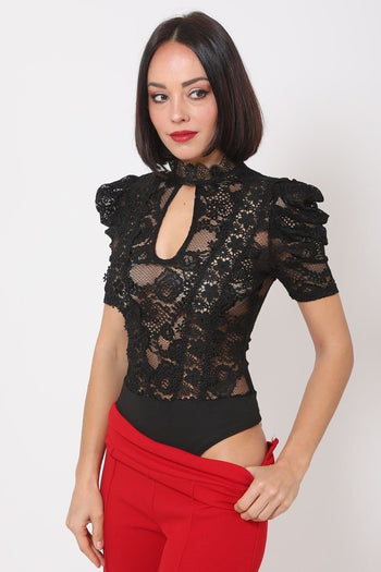 Lace Bodysuit w/Front Key Hole Opening Details