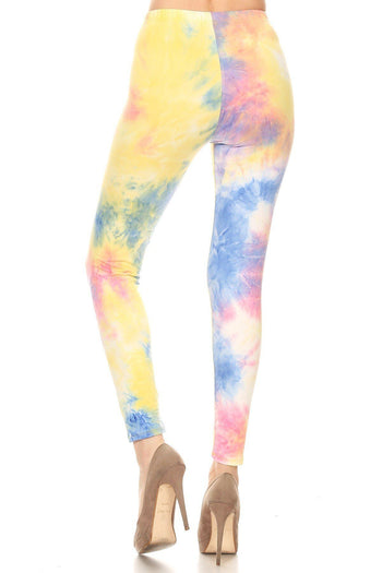 Yellow Tie Dye Printed High Waisted Leggings