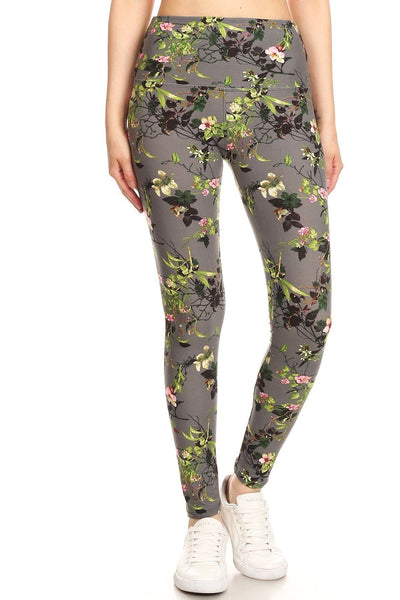 Floral Printed Knit High Waist Legging