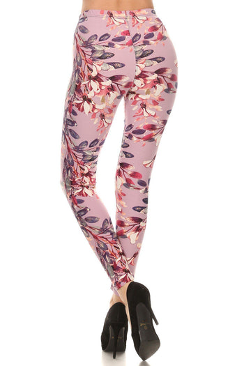 Floral Printed High Waisted Knit Leggings
