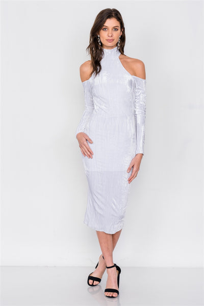 White Velvet Halter Midi Dress
