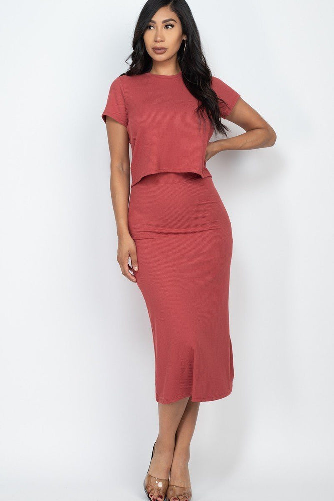 Rib Knit Midi Skirt Set