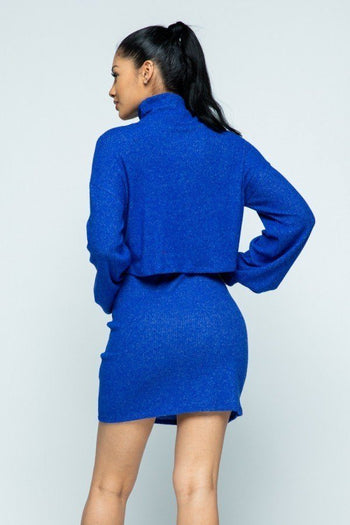 Brushed Knit Mock Mini Skirt Set