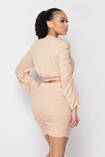 Ruched Long Sleeve Skirt Set