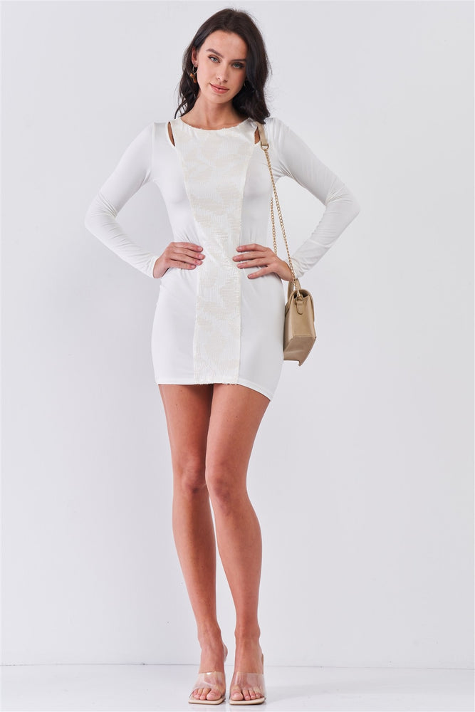 White Sequined Center Front Detail Long Sleeve Mini Dress