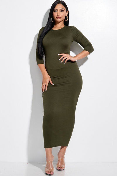 Solid 3/4 Sleeve With Back Cut Out Midi Dress