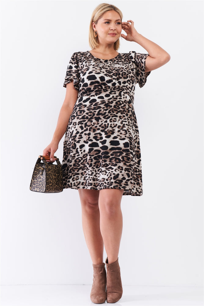 Leopard Print Self-tie Babydoll Cut Mini Dress