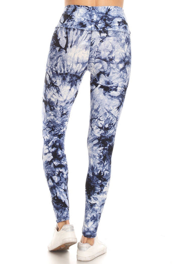 Blue Tie Dye Printed High Waist Legging