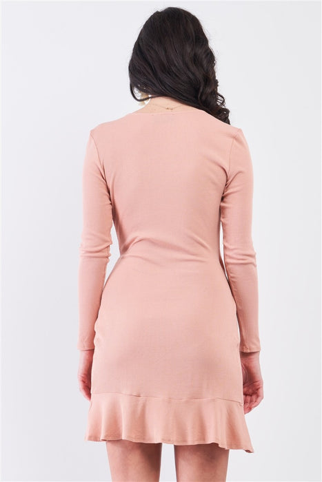 Tan Blush Ribbed Deep Plunge V-neck Asymmetrical Wrap Flare Hem Dress