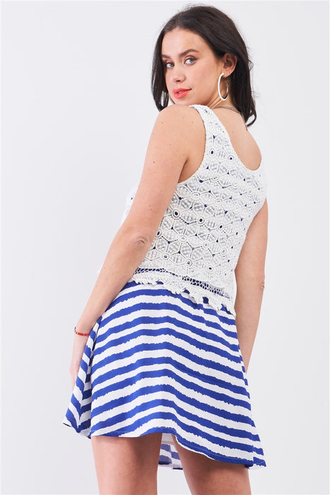 White & Navy Horizontal Striped Sleeveless Floral Embroidery Layered Top Mini Dress