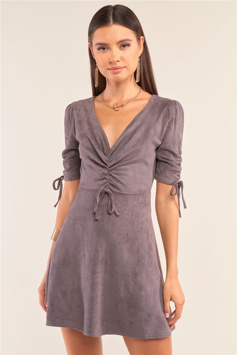 Charcoal Grey Suede Deep Plunge V-neck Gathered Detail Tight Fit Mini Dress