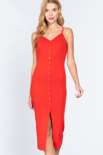 Front Button Slit Rib Cami Midi Dress