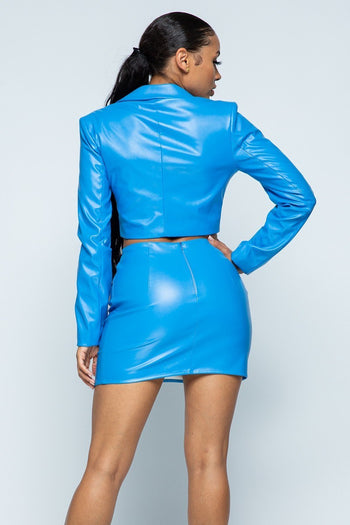 Tight Stretch Pu Fabric Jacket Skirt