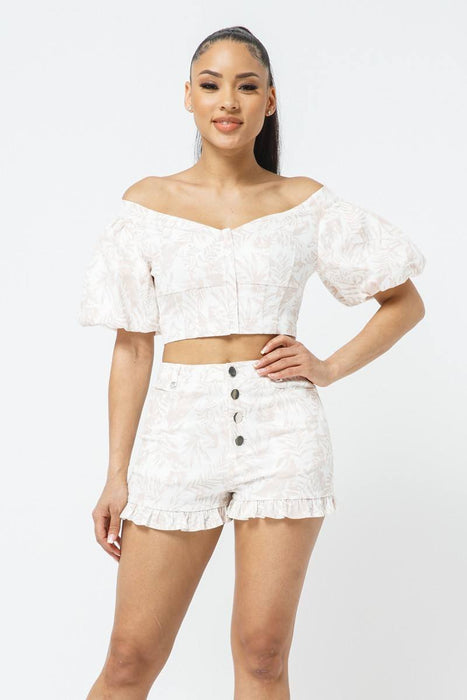 Off-shoulder Puff Sleeve Matching Shorts Set