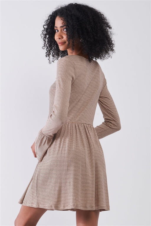 Embroidery Long Sleeve With Flare Hem Mini Dress