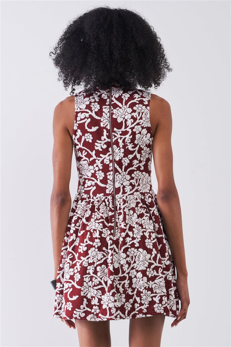 Burgundy & White Floral Crew Neck Sleeveless Fitted Mini Dress