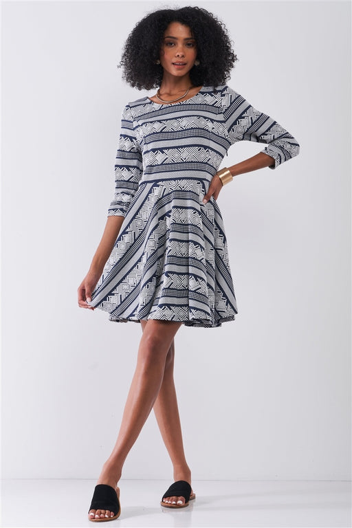 Multi Print Round Neck 3/4 Sleeve A-line Mini Dress
