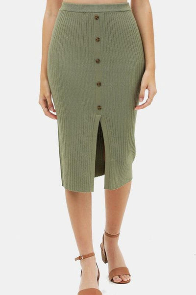 All I Want Olive Knitted Skirt - UntamedFaithBoutique