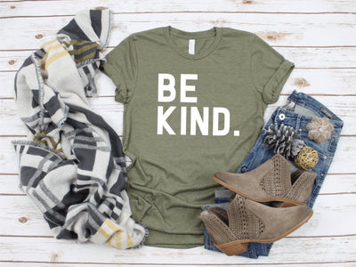Be Kind Mustard Olive Graphic Tee - UntamedFaithBoutique