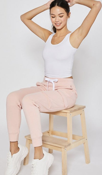 Blush Pink Fleece Joggers - UntamedFaithBoutique
