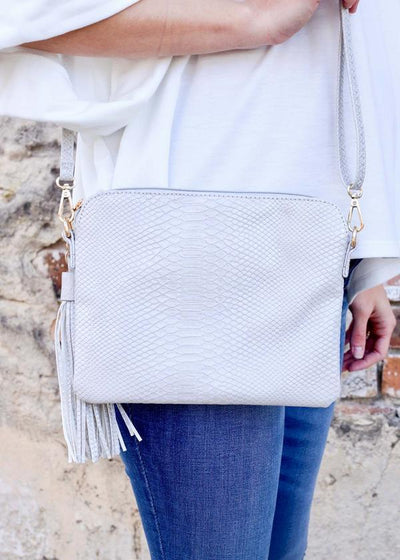 Carol Clutch-Crossbody With Side Tassel Snake Pale Gray - UntamedFaithBoutique