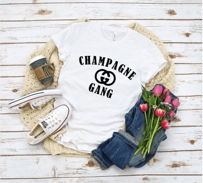 Champagne Gang White Graphic Tee - UntamedFaithBoutique