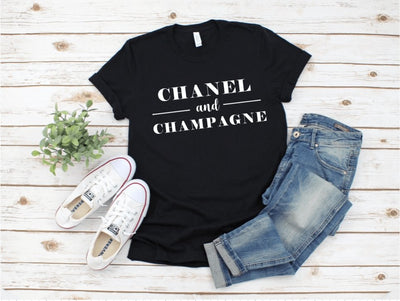 Chanel and Champagne Black Graphic Tee - UntamedFaithBoutique