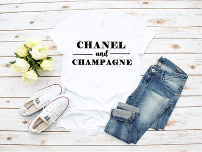 Chanel and Champagne White Graphic Tee - UntamedFaithBoutique