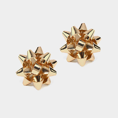 Christmas Bow Gold Stud Earrings - UntamedFaithBoutique