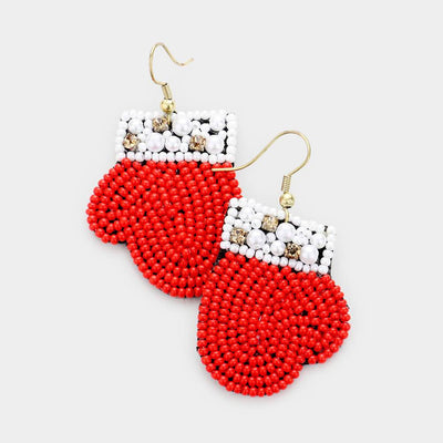Christmas Mitten Beaded Earrings - UntamedFaithBoutique