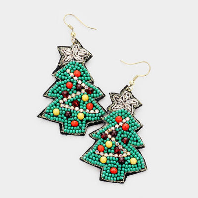 Christmas Tree Star Beaded Earrings - UntamedFaithBoutique