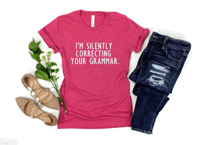 Correctly Your Grammar Raspberry Graphic Tee - UntamedFaithBoutique