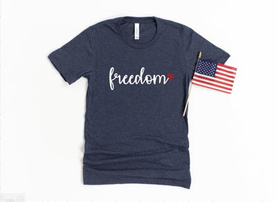 Freedom Navy Graphic Tee - UntamedFaithBoutique