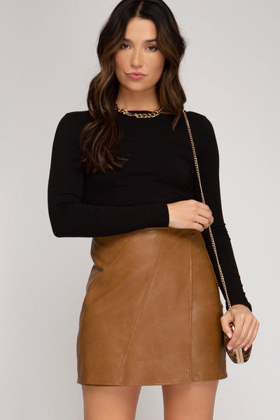 Head Over Hills Toffee Faux Leather Skirt - UntamedFaithBoutique