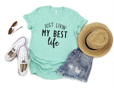 Just Livin' My Best Life Teal Graphic Tee - UntamedFaithBoutique